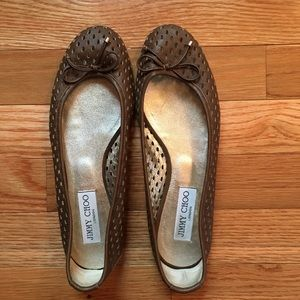 Jimmy Choo Laser Cut Brown Flats Sz 37.5